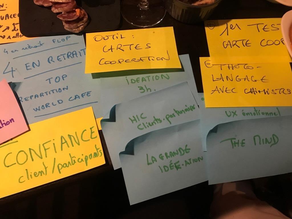 Séquence suivante. Laurence demande à chacun de réfléchir pendant 3' en notant ses bonnes expériences vécues en matière de facilitations depuis juin, ses moins bonnes expériences, et des outils nouveaux qu'il souhaite partager avec le groupe.